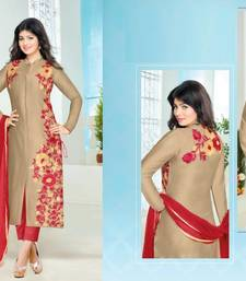 Buy Beige cotton embroidered semi stitiched salwar with dupatta cotton-salwar-kameez online