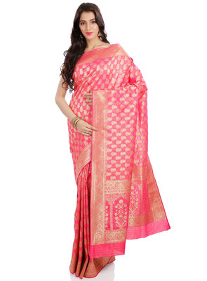 dark baby pink embroidered banarasi saree With Blouse