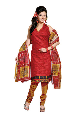 CottonBazaar Red & Orange Colored Cotton Unstitched Salwar Kameez
