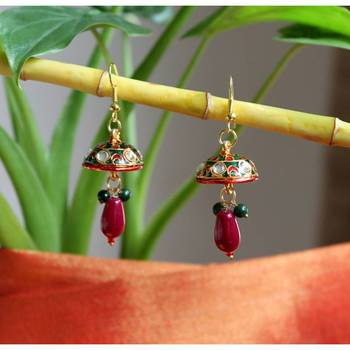 Kundan encrusted jhumki earrings