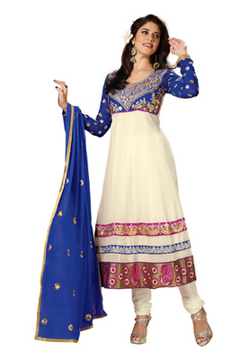 Fabdeal White Colored Faux Georgette Embroidered Semi-Stitched Salwar Kameez