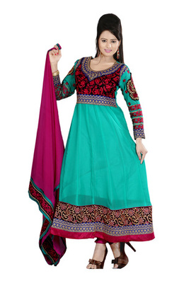 Fabdeal Light Blue Colored Pure Georgette Embroidered Semi-Stitched Salwar Kameez