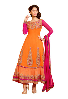 Fabdeal Orange Colored Pure Georgette Embroidered Semi-Stitched Salwar Kameez