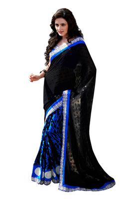 Fabdeal Black  Colored Georgette Embroidered Saree
