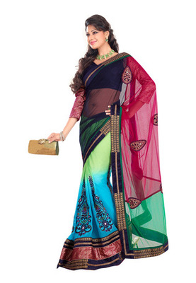 Fabdeal Multi Colored Net Embroidered Saree