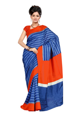 Fabdeal Blue Colored Raw Silk Printed Saree