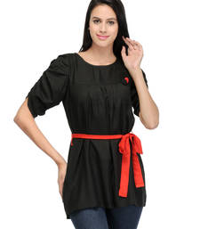 Buy Black viscose tops long-top online