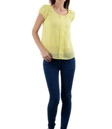 Buy Yellow polycrape tops chiffon-top online