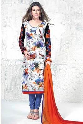 White Printed Salwar Kameez With Orange Chiffon Dupatta