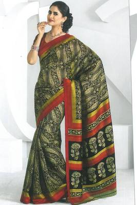 Pear Green and Black Dupion Silk Printed Casual and Party Saree