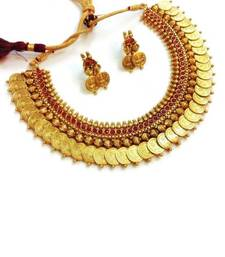 Buy Traditional temple red coin necklace set hot-deal online