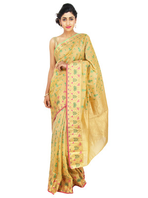 gold woven tissue saree With Blouse