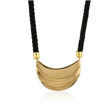 Black Leather & Gold Mini Bib Pleated Necklace