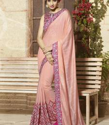 Buy peach embroidered viscose saree With Blouse viscose-saree online