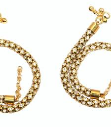 Buy gold plated pair of anklets studded with full white stones anklet online