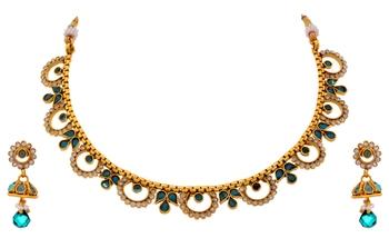 Jfl Traditional Ethnic One Gram Gold Plated Austrian Diamond Rama Green Stones Designer Necklace Set