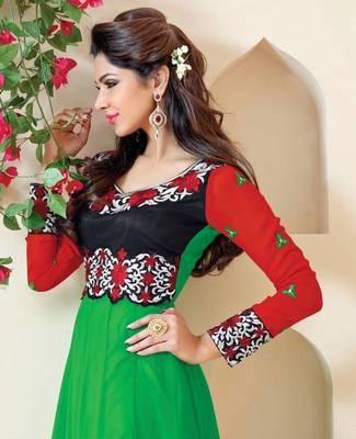 Enigmatic Green Georgette Anarkali Salwar Kameez-TBSUAURA1001