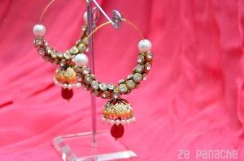 Maroon Jhumki Earrings