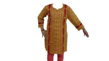 Lucknowi Kurti in Mustard Yellow color with Red embroidery