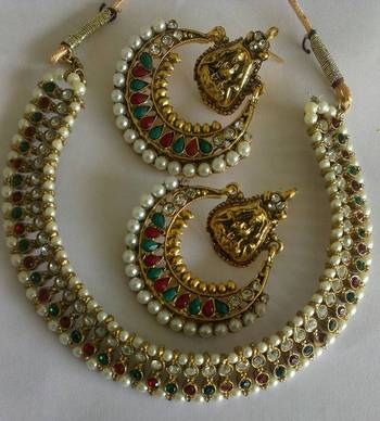 Designer Multi colour Ram Leela Earings with Traditional Multi colour Necklace