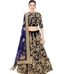 Buy  Navy blue semi velvet embroidered semi stitched lehenga choli material with matching net dupatta lehenga-choli online