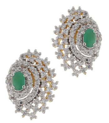 Lavish CZ Earrings with Green Twist