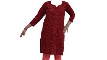 Lucknowi Kurti in Maroon color with Olive Green embroidery