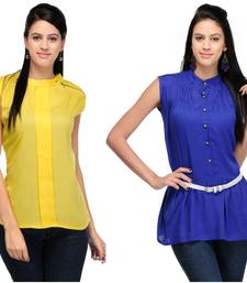 Buy Yellow and blue rayon tops party-top online