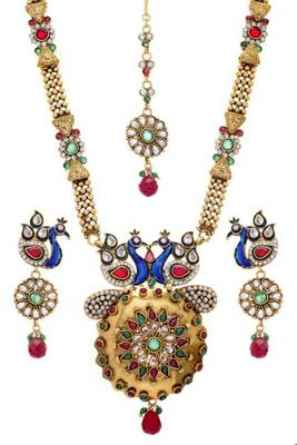 ANTIQUE GOLDEN STONE STUDDED FLOWER PEACOCK THEME LONG SET (AD RED GREEN)  - PCLS8007