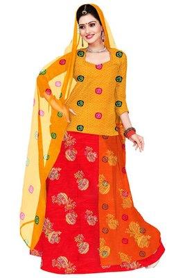 Yellow and Orange Chanderi Cotton Printed Rajasthani Poshak