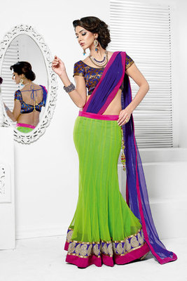 Green Net and Brocade Lahenga Choli Garnished With Resham Embroidery and Lace Work