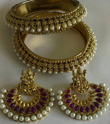 Designer Ram Leela Earings with Traditional Bangles