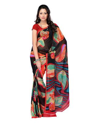 Black Colored Georgette Printed Saree