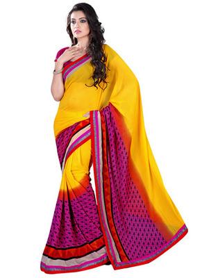 Yellow  Colored Chiffon Saree