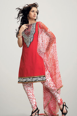 This a Red Cotton Salwar Suit with Chiffon Dupatta