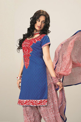 Blue and Red Embroidered Salwar Suit with Chiffon Dupatta