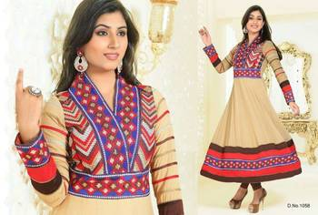 Kumud Semi Stitched Anarkali with Elegant Thread Embroidery All over