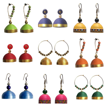 Combo pack of nine ethnic quilled jhumkas