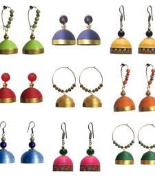 Buy Combo pack of nine ethnic quilled jhumkas jhumka online