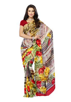 Fabdeal Multi Colored Georgette Printed Saree