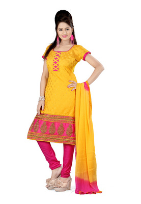 Fabdeal Yellow Colored Banarasi Silk Un-Stitched Salwar Kameez