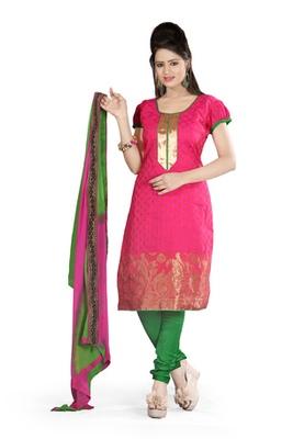 Fabdeal Pink Colored Banarasi Silk Un-Stitched Salwar Kameez