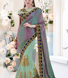 Buy green embroidered net saree With Blouse party-wear-saree online