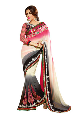 Fabdeal White Colored Georgette Embroidered Saree