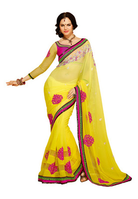 Fabdeal Yellow Colored Georgette Embroidered Saree