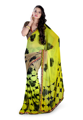 Fabdeal Green Colored Faux Georgette & Pure Cotton Printed With Lace Border Saree