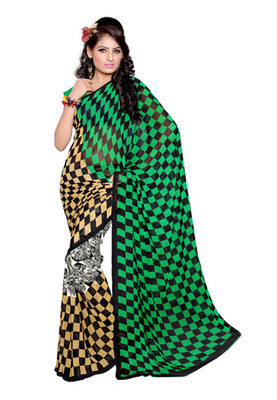 Fabdeal Black Colored Bemberg Georgette Printed Saree