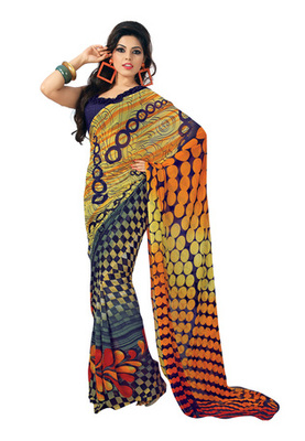 Fabdeal Blue Colored Faux Georgette Printed Saree