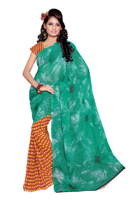 Fabdeal Turquoise Colored Faux Georgette Printed Saree