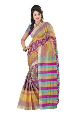Fabdeal Light Brown Colored Banarasi Cotton Weaving Embordered Saree